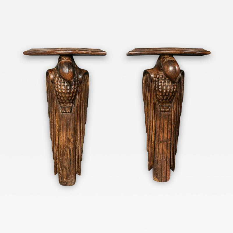 Pair of French 1920s Hand Carved Parrot Wall Shelves