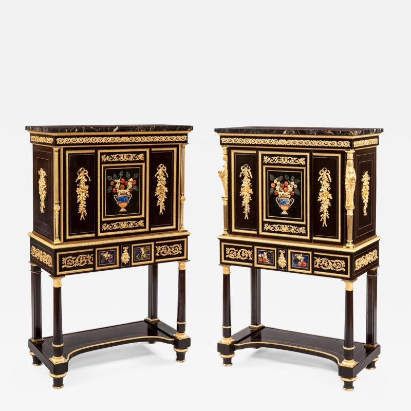 Pair of French 19th Century Ebony Hard Stone and Ormolu Mounted Secretaires