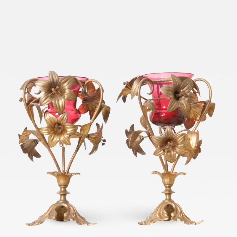 Pair of French 19th Century Gilt Brass and Rose Glass Vases