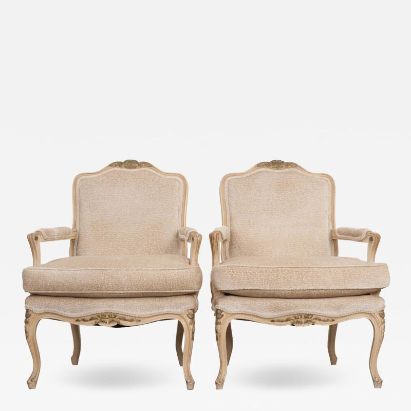 Pair of French 19th Century Louis XV Style Cr me Peinte Fauteuils