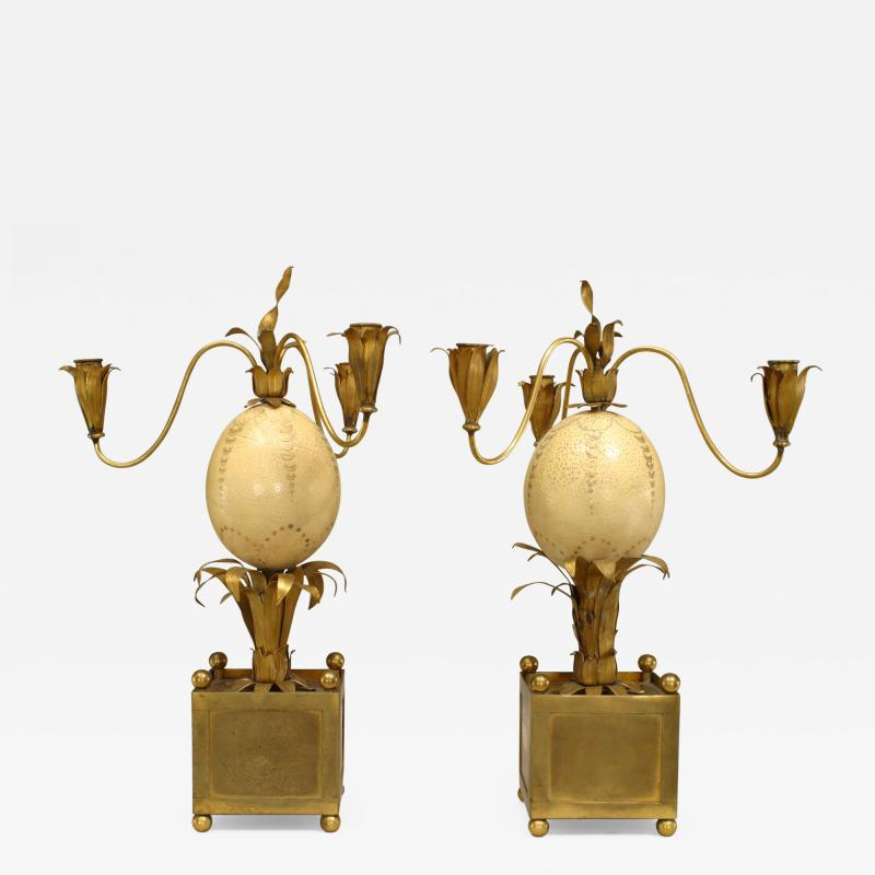 Pair of French Brass Palm Design and Ostrich Egg 3 Arm Candelabra