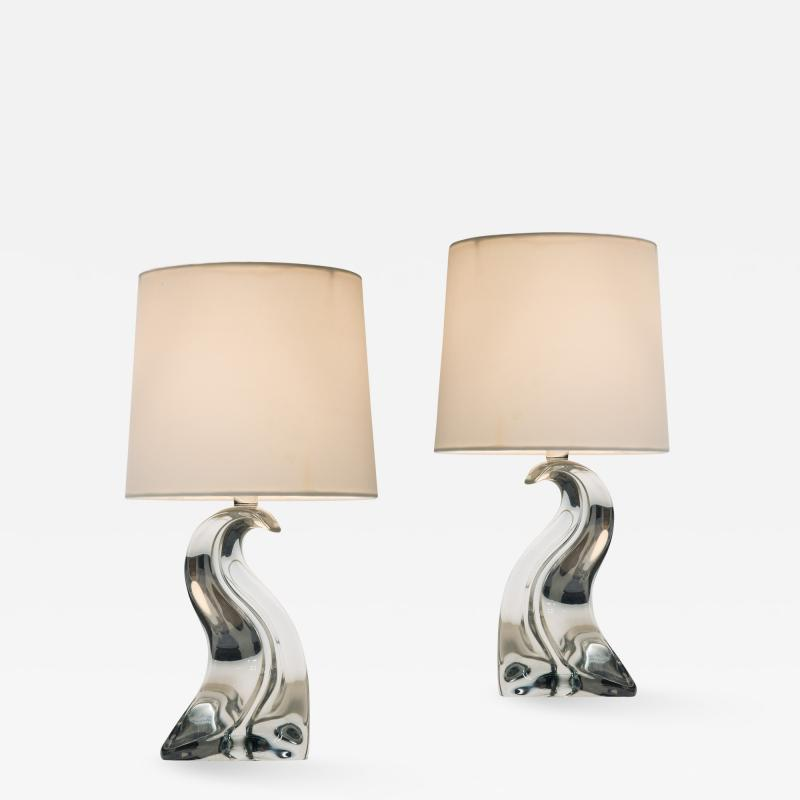 Pair of French Crystal Glass Lamps by Cristal Saint Louis