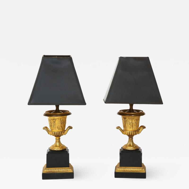 Pair of French Empire Style Bronze Urn Lamps