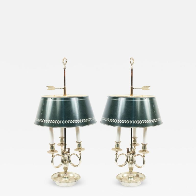 Pair of French Empire Style Silver Plate Table Lamps