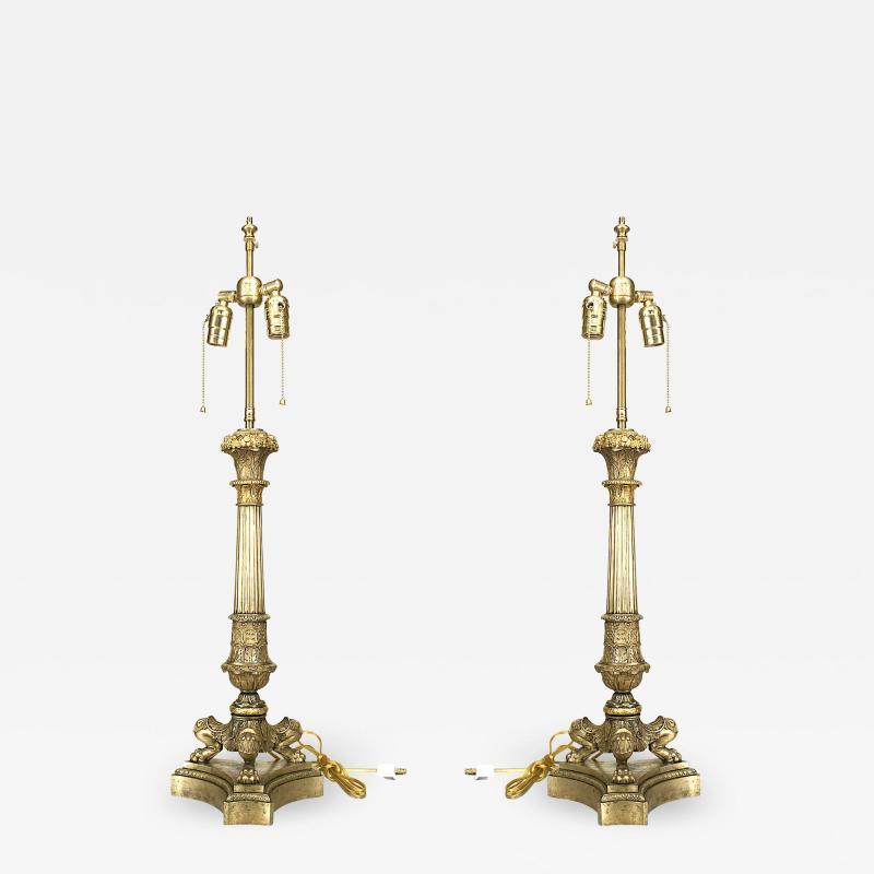 Pair of French Louis XVI Style Bronze Table Lamps