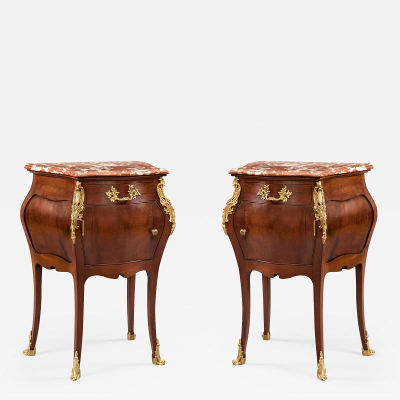 Pair of French Mahogany Gilt and Marble Topped Side Cabinets 19th Century