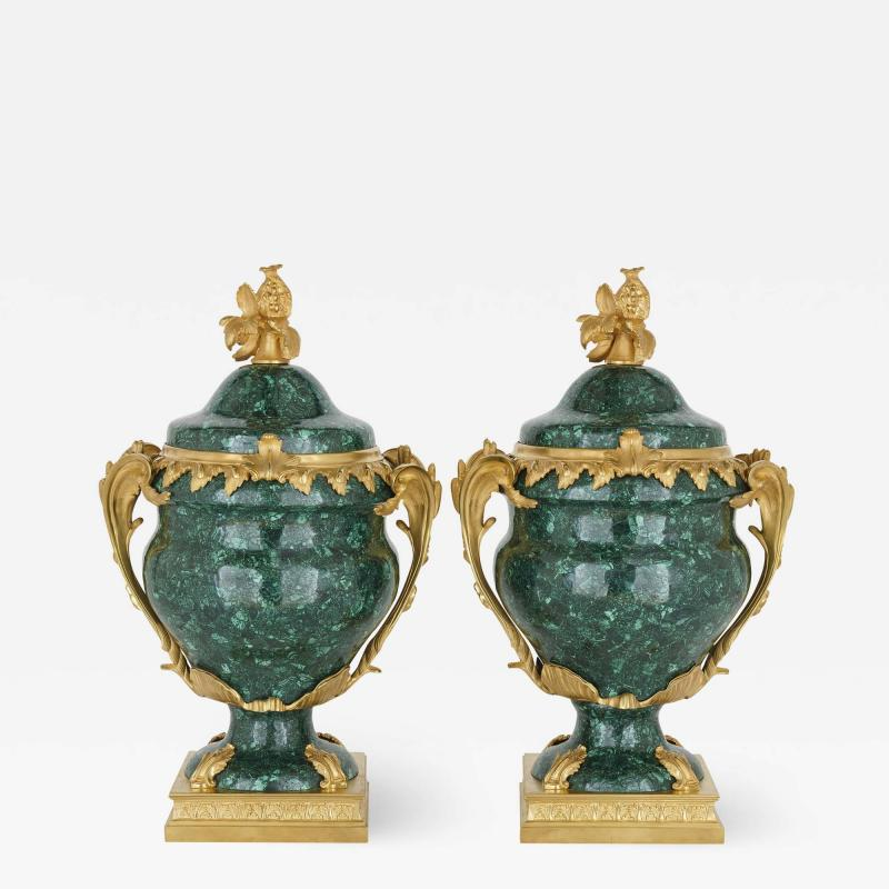 Pair of French Malachite and Gilt Bronze Vases