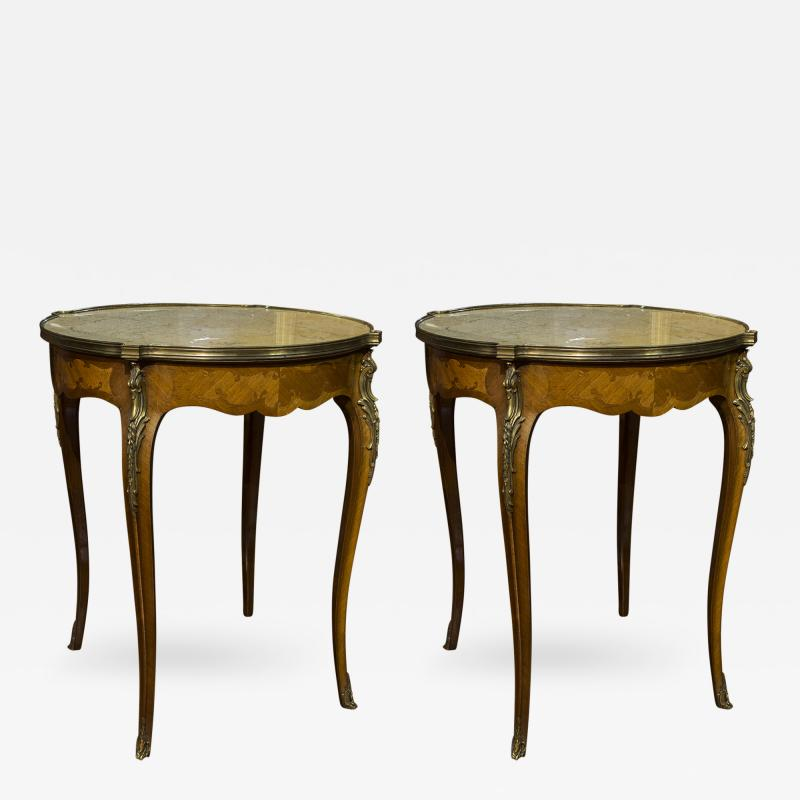 Pair of French Marble Top Gueridons