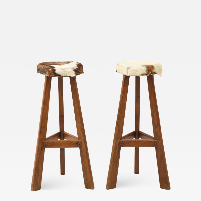 Pair of French Mid Century Stools with Cowhide Seats