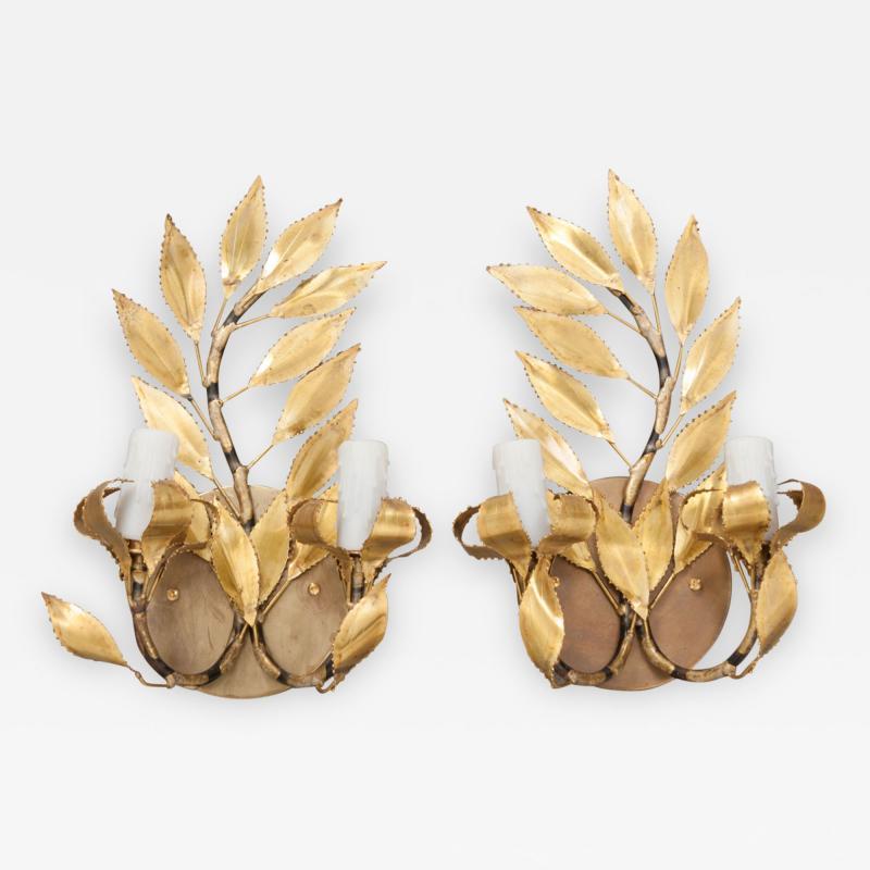 Pair of French Vintage Gilt Brass Laurel Leaf Two Arm Sconces