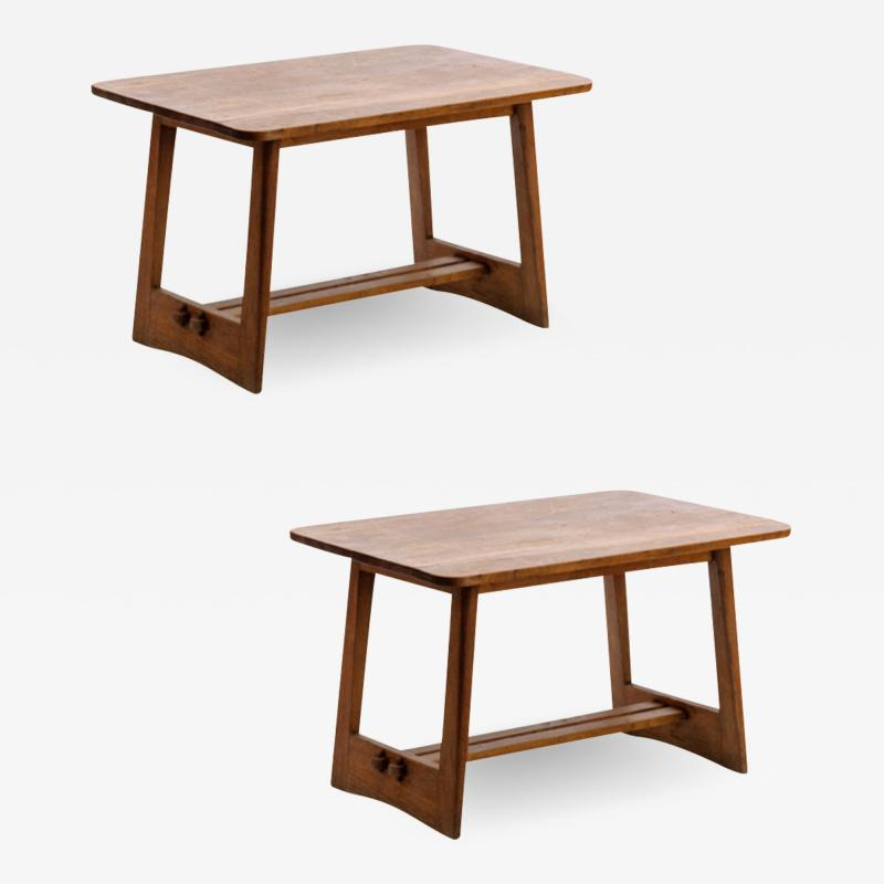 Pair of French fifties oak side table or coffee tables