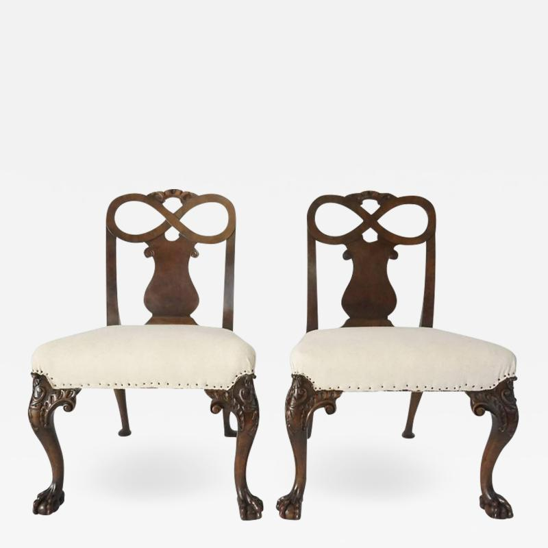 Pair of George II Style Carved Walnut Side Chairs England circa 1880