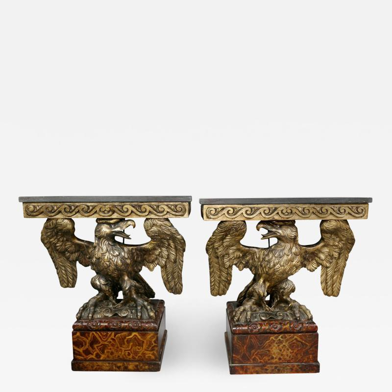 Pair of George II Style Giltwood and Grey Marble Eagle Console Tables