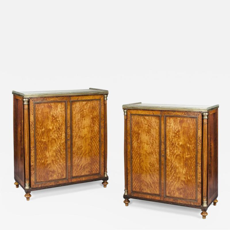 Pair of Georgian Satinwood Two Door Cabinets