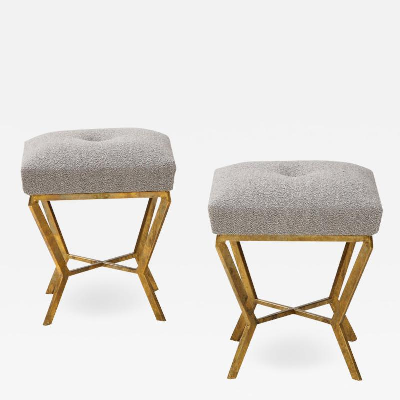 Pair of Gilded Gold Leaf Iron Stools with Tufted Grey Boucle Italy 2021