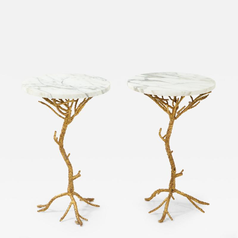 Pair of Gold Branch Side Tables with Marble Top