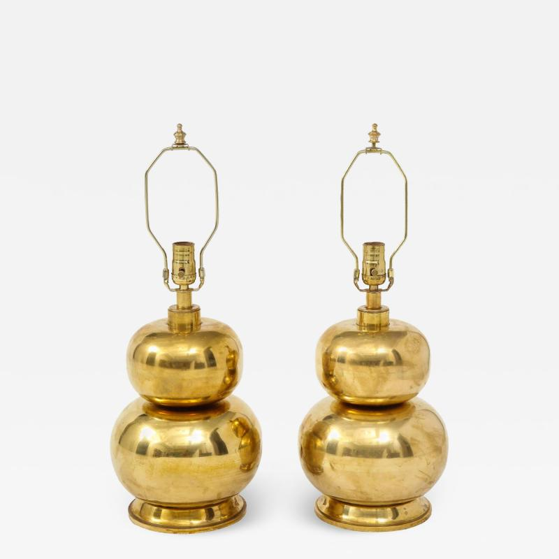 Pair of Gourd Brass Lamps