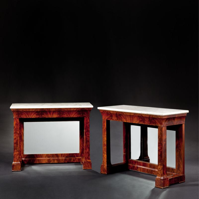 Pair of Grecian Pain Style Mahogany Pier Tables