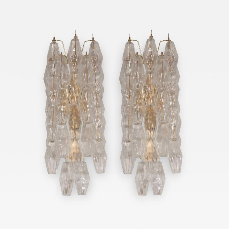 Pair of Handblown Murano Glass Polyhedral Sconces with Brass Fittings
