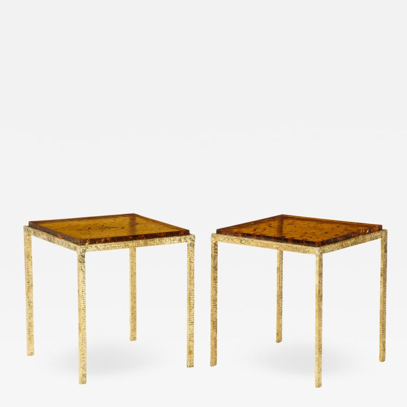 Pair of Handmade Textured Brass and Gold Fractal Resin Top Side Tables Italy