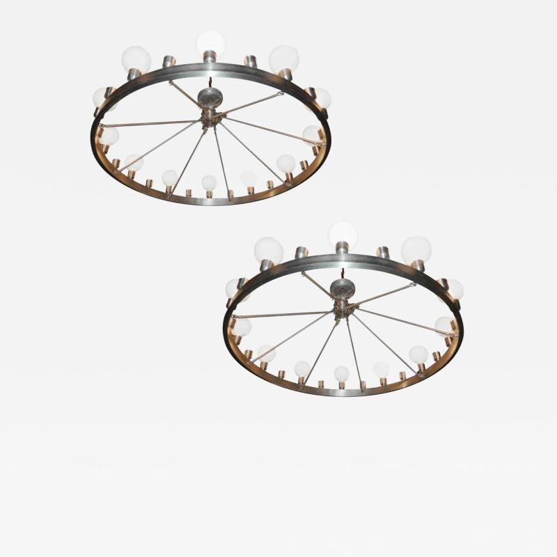 Pair of Huge Industrial 24 light Chandelier