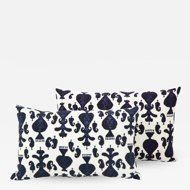 Pair of Ikat Inspired Blue and Cream Pillows
