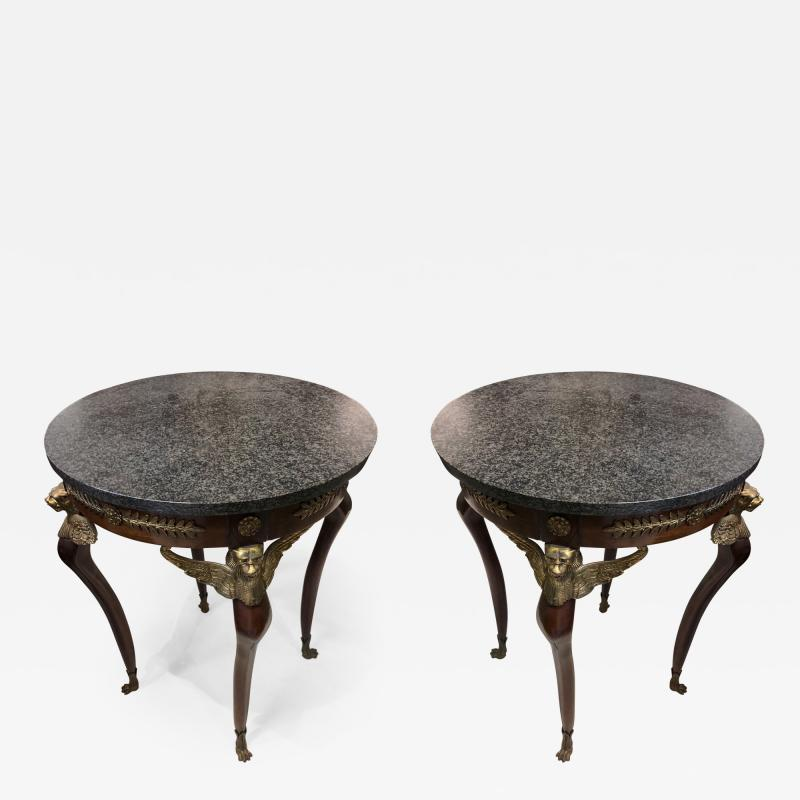 Pair of Imperial Style Side Tables with Black Marble Tops