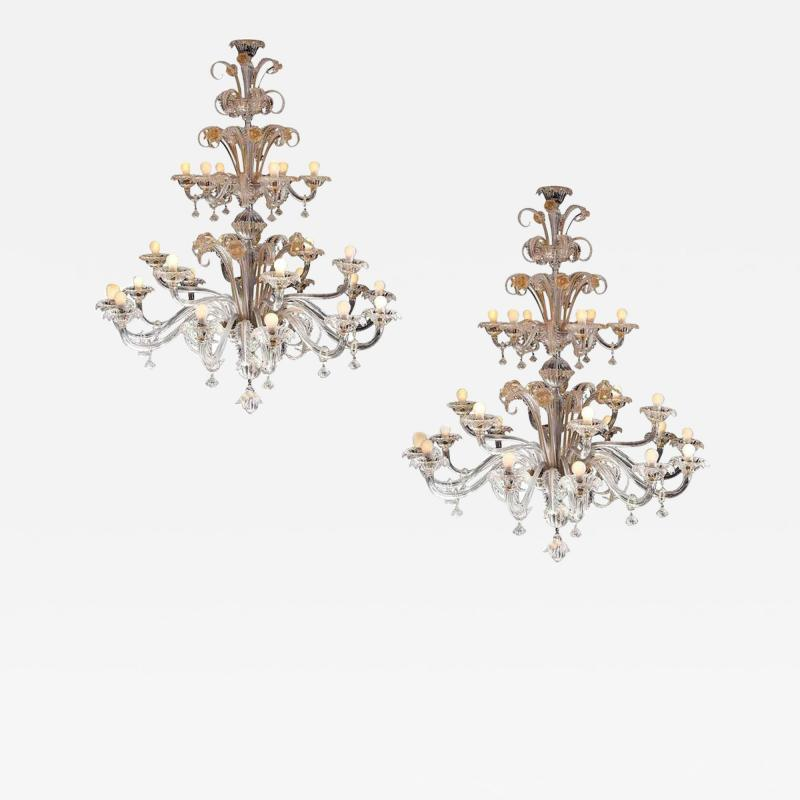 Pair of Impressive Murano Chandeliers by Seguso 1960