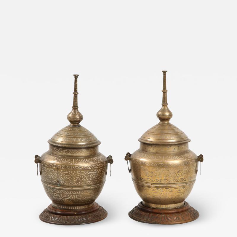 Pair of Indo Persian Mixed Metal Jars