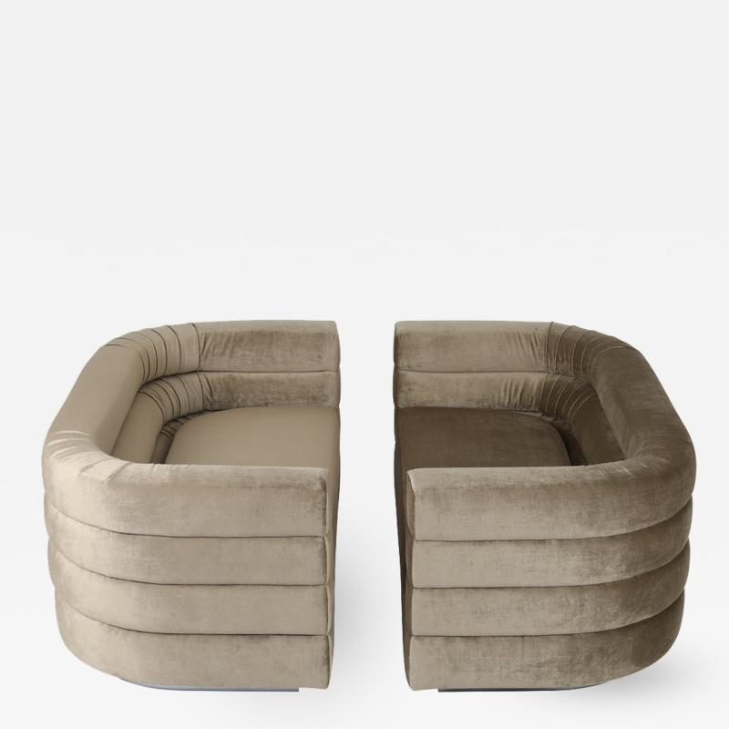 Pair of Interior Crafts Channeled Loveseats
