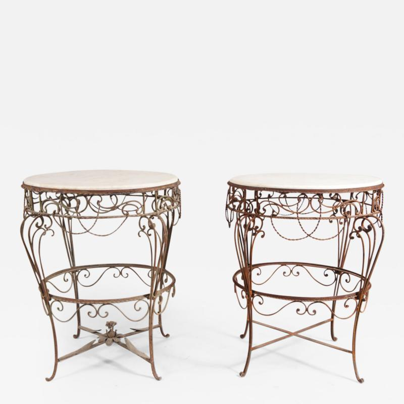 Pair of Iron Tables with Marble Tops