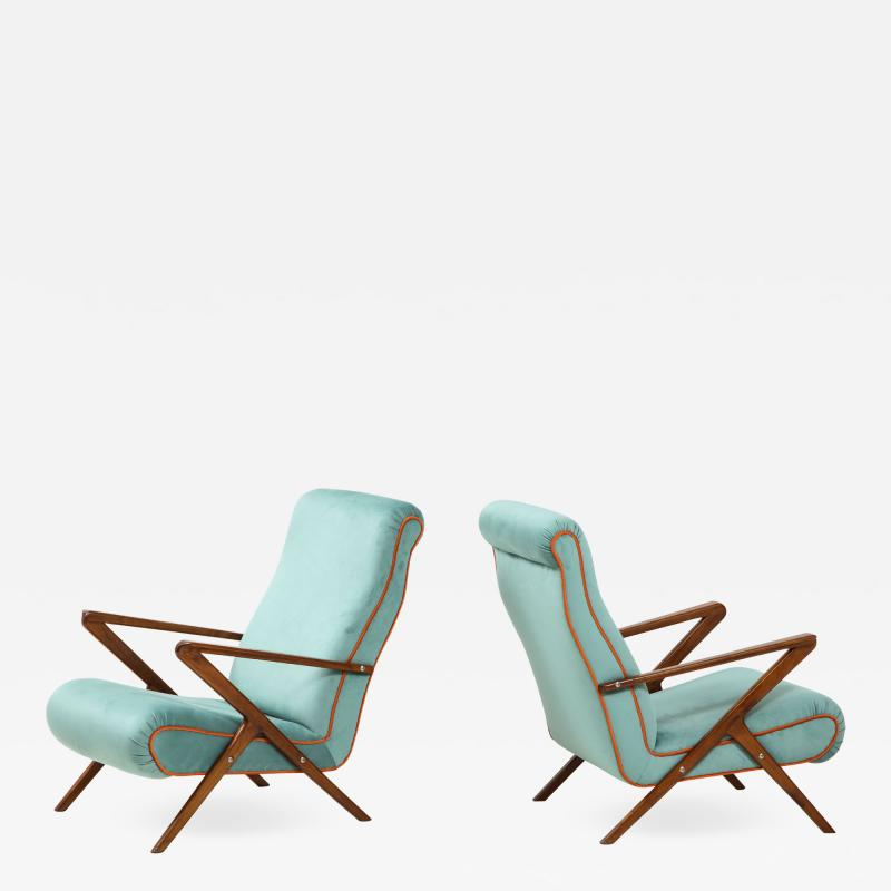 Pair of Italian 1950s Sculptural Walnut Upholstered Lounge Chairs