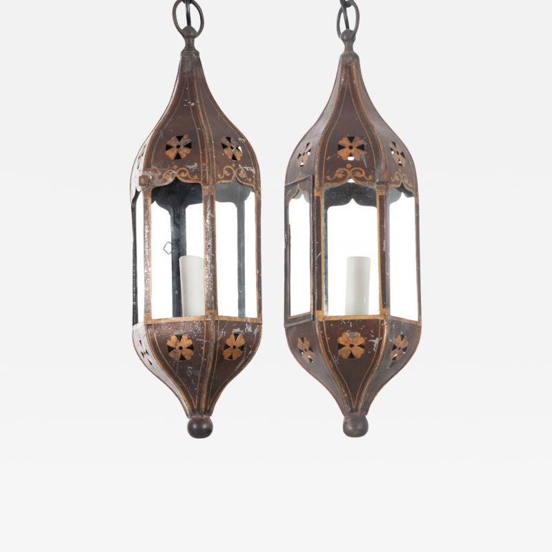 Pair of Italian 19th Century Toleware Procession Lantern Pendants