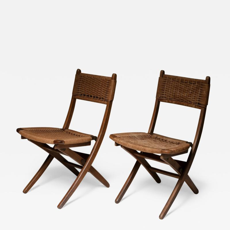 Pair of Italian 60s Folding Cord Chairs