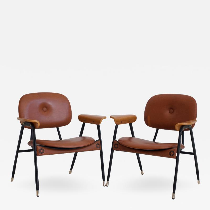 Pair of Italian Brown Leather and Black Painted Metal Chairs