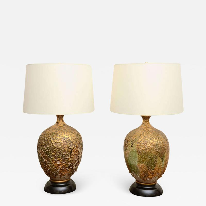 Pair of Italian Ceramic Lamps With a Volcanic Glazed finish