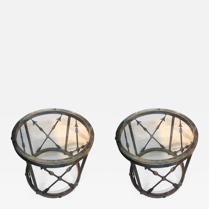 Pair of Italian Drum Side Tables with Arrow Details