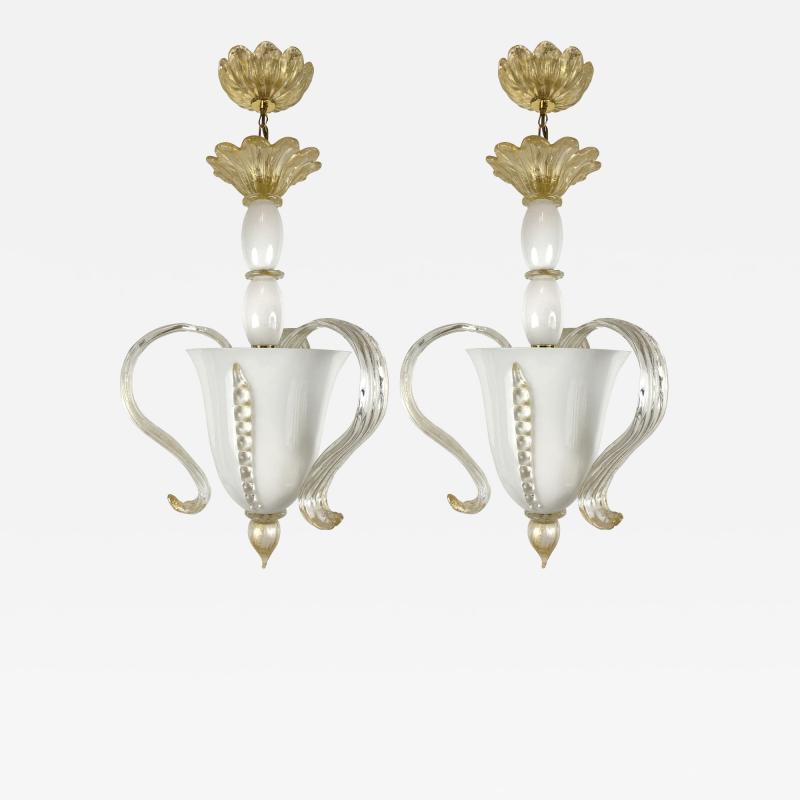 Pair of Italian Glass Chandeliers