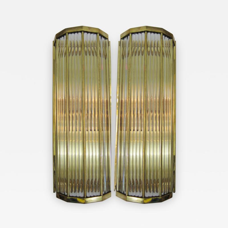 Pair of Italian Glass Straws Gold Plated Wall Sconces