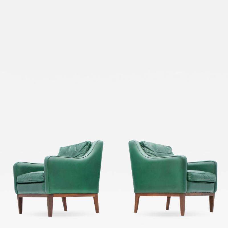Pair of Italian Lounge Chairs in Green Leather 1958
