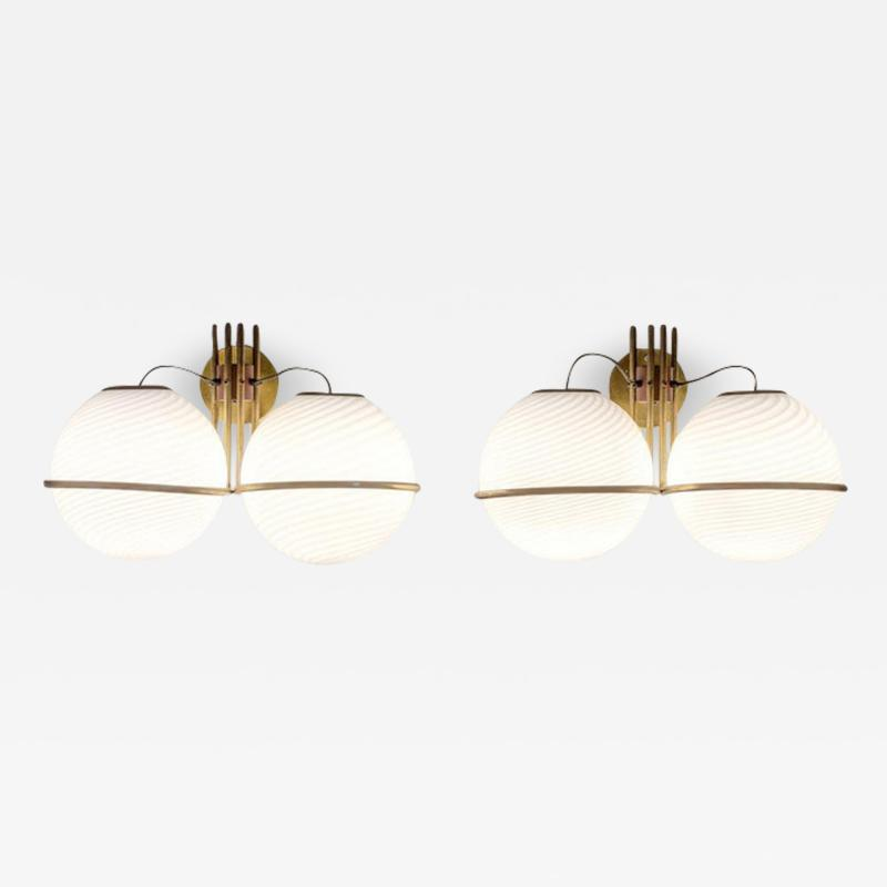 Pair of Italian Midcentury Brass and Glass Wall Lights