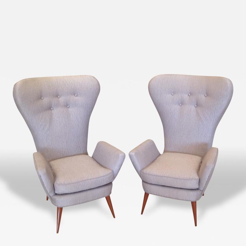 Pair of Italian Modern High Back Chairs