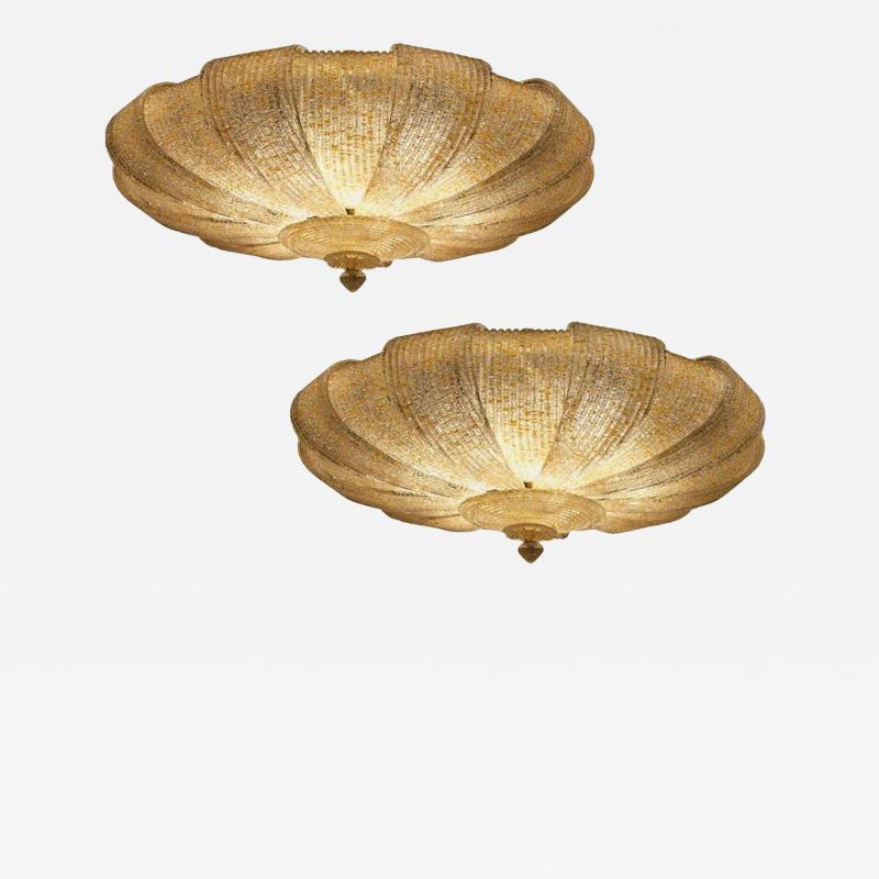 Pair of Italian Murano Glass Gold Leaves Modern Flush Mount or Ceiling Light