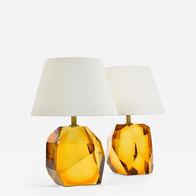 Pair of Italian Murano amber rock table lamps