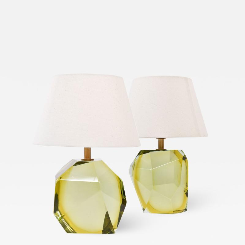 Pair of Italian Murano citrine rock table lamps