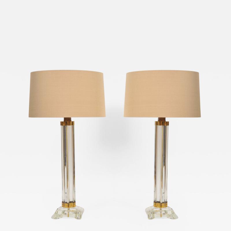 Pair of Italian Murano glass column lamps