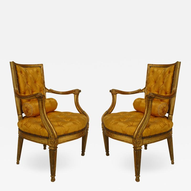 Pair of Italian Neo Classic Gold Arm Chairs