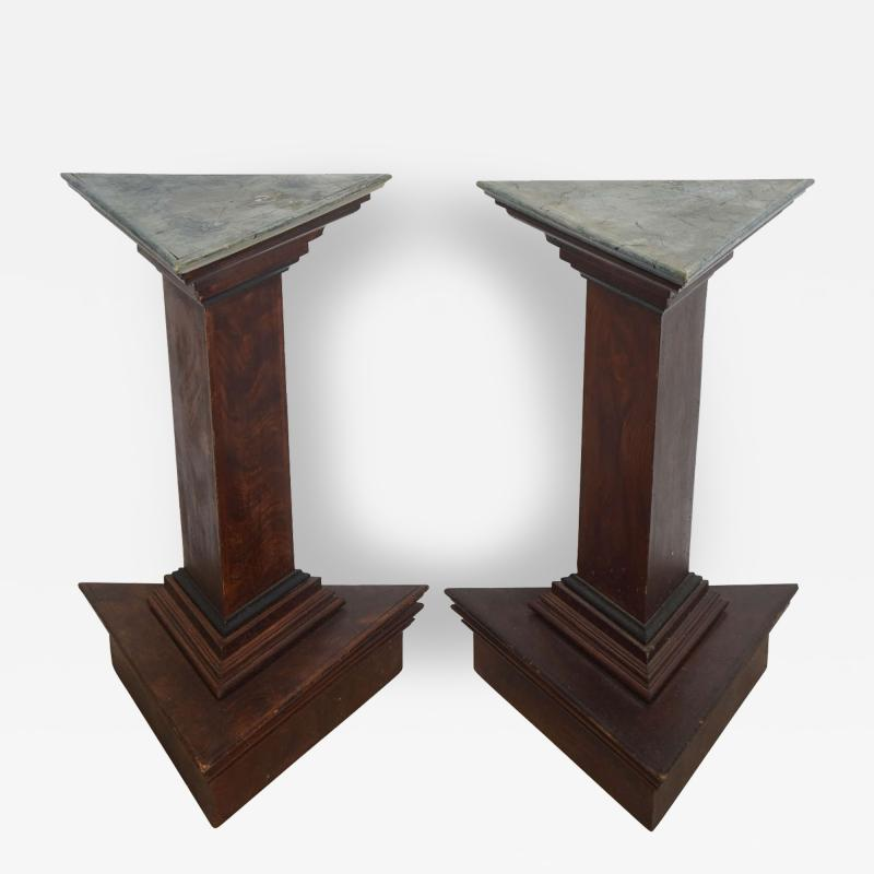 Pair of Italian Neoclassic Faux Bois and Faux Marble Painted Pedestals