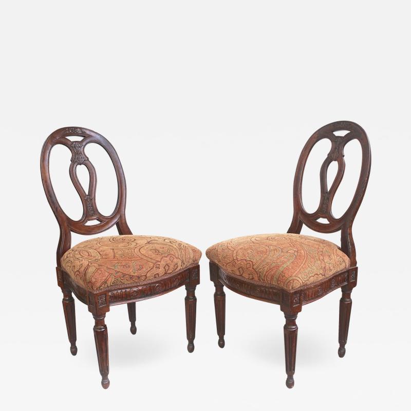 Pair of Italian Neoclassical Walnut Side Chairs