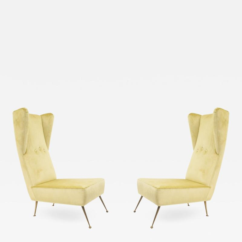 Pair of Italian Post War 1950s High Wing Back Side Chairs